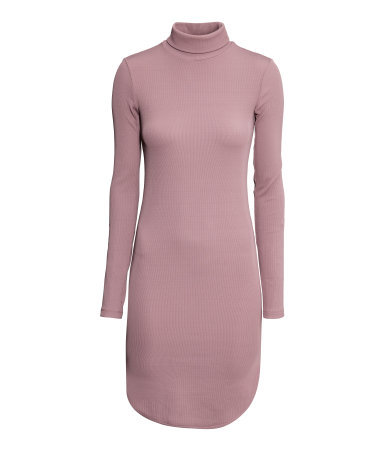 Ribbed Polo Neck Dress - style: jumper dress; length: mid thigh; pattern: plain; neckline: roll neck; occasions: casual, creative work; fit: body skimming; fibres: polyester/polyamide - stretch; sleeve length: long sleeve; sleeve style: standard; texture group: jersey - stretchy/drapey; predominant colour: dusky pink; season: s/s 2015; wardrobe: highlight