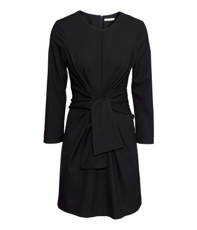 Figure Fit Dress - length: mid thigh; fit: tailored/fitted; pattern: plain; waist detail: belted waist/tie at waist/drawstring; predominant colour: black; occasions: casual, evening, creative work; style: fit & flare; fibres: polyester/polyamide - stretch; neckline: crew; sleeve length: long sleeve; sleeve style: standard; texture group: jersey - stretchy/drapey; season: s/s 2015; wardrobe: basic
