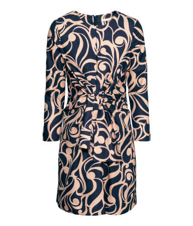 Figure Fit Dress - length: mid thigh; fit: tailored/fitted; waist detail: belted waist/tie at waist/drawstring; secondary colour: navy; predominant colour: nude; occasions: casual, evening, creative work; style: fit & flare; fibres: polyester/polyamide - stretch; neckline: crew; sleeve length: long sleeve; sleeve style: standard; pattern type: fabric; pattern size: standard; pattern: patterned/print; texture group: other - light to midweight; season: s/s 2015