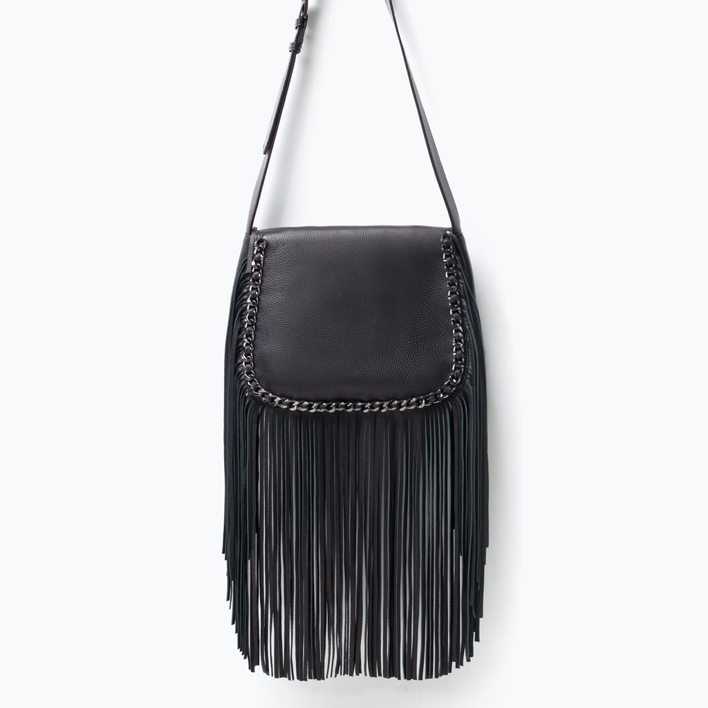 Leather Messenger Bag With Fringing - predominant colour: black; occasions: casual, creative work; style: messenger; length: across body/long; size: standard; material: leather; embellishment: fringing; pattern: plain; finish: plain; season: s/s 2015; wardrobe: highlight