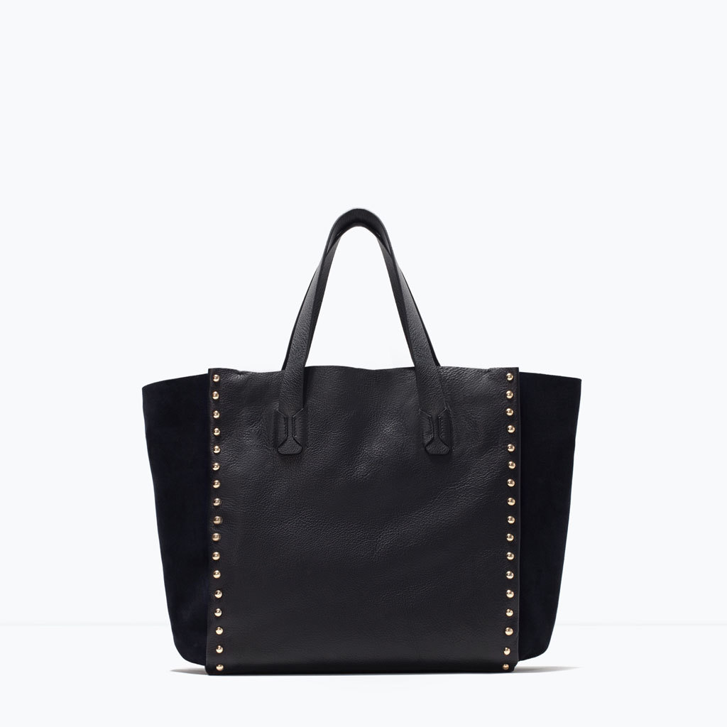 Studded Leather Shopper - predominant colour: black; occasions: casual, creative work; style: tote; length: handle; size: oversized; material: leather; embellishment: studs; pattern: plain; finish: plain; season: s/s 2015