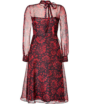 Silk Organza Floral Print Dress In Black/Red Florals - length: below the knee; neckline: high neck; shoulder detail: contrast pattern/fabric at shoulder; predominant colour: true red; secondary colour: black; occasions: evening, occasion; fit: fitted at waist & bust; style: fit & flare; fibres: silk - 100%; sleeve length: long sleeve; sleeve style: standard; texture group: sheer fabrics/chiffon/organza etc.; pattern type: fabric; pattern size: standard; pattern: florals; trends: sheer indulgence; season: s/s 2015