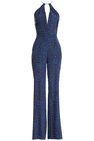 Ireland Printed Silk Jumpsuit - length: standard; neckline: plunge; sleeve style: spaghetti straps; predominant colour: royal blue; secondary colour: black; occasions: evening; fit: body skimming; fibres: silk - mix; sleeve length: sleeveless; style: jumpsuit; pattern type: fabric; pattern size: standard; pattern: patterned/print; texture group: jersey - stretchy/drapey; trends: seventies retro; season: s/s 2015; wardrobe: event