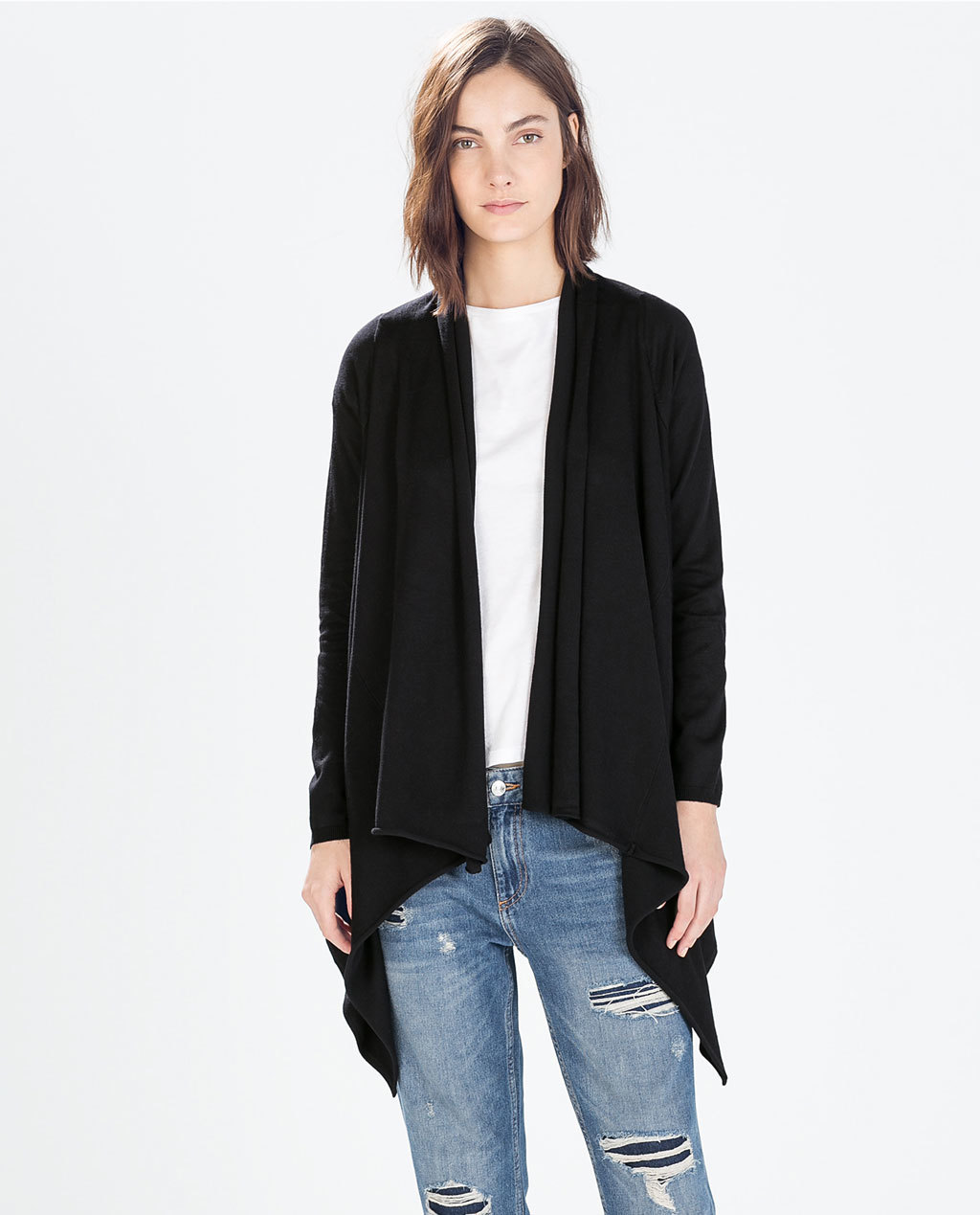 Jacket With Pointed Front - pattern: plain; collar: shawl/waterfall; length: below the bottom; predominant colour: black; occasions: casual, creative work; fit: straight cut (boxy); sleeve length: long sleeve; sleeve style: standard; collar break: low/open; pattern type: fabric; texture group: other - light to midweight; fibres: viscose/rayon - mix; style: fluid/kimono; season: s/s 2015; wardrobe: basic