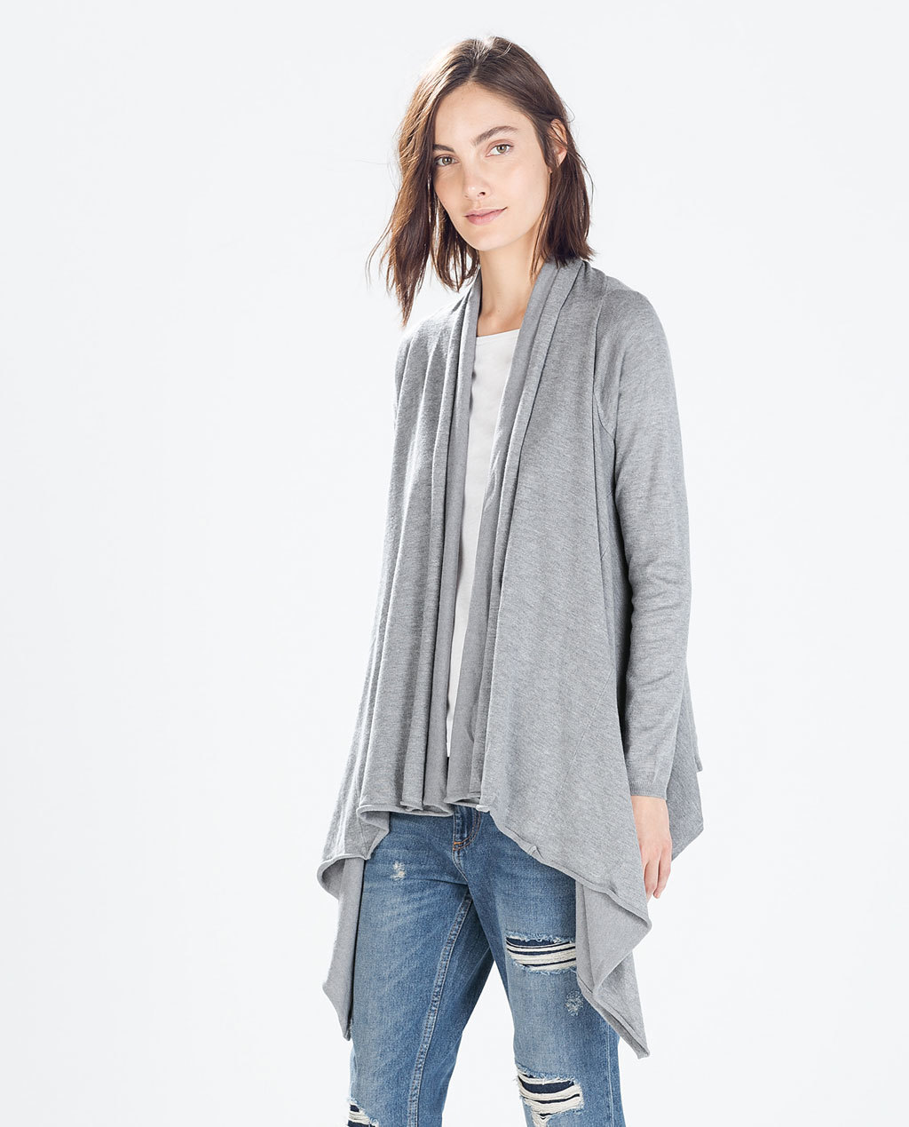 Jacket With Pointed Front - pattern: plain; collar: shawl/waterfall; fit: loose; predominant colour: light grey; occasions: casual, creative work; length: standard; back detail: longer hem at back than at front; sleeve length: long sleeve; sleeve style: standard; collar break: low/open; pattern type: fabric; texture group: jersey - stretchy/drapey; fibres: viscose/rayon - mix; style: fluid/kimono; season: s/s 2015