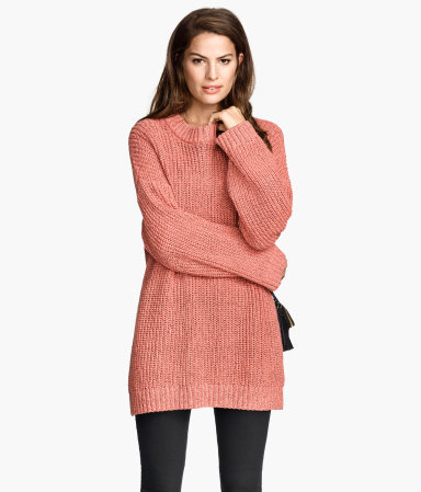 Rib Knit Jumper - pattern: plain; style: tunic; predominant colour: coral; occasions: casual, creative work; fibres: cotton - mix; fit: loose; neckline: crew; length: mid thigh; sleeve length: long sleeve; sleeve style: standard; texture group: knits/crochet; pattern type: knitted - big stitch; season: s/s 2015; wardrobe: highlight