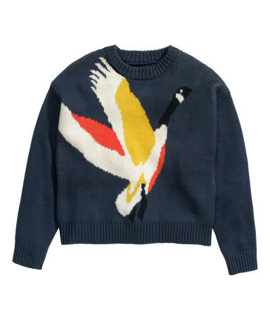 Jacquard Knit Jumper - style: standard; predominant colour: navy; secondary colour: yellow; occasions: casual, creative work; length: standard; fibres: cotton - mix; fit: standard fit; neckline: crew; sleeve length: long sleeve; sleeve style: standard; texture group: knits/crochet; pattern type: knitted - other; pattern: patterned/print; season: s/s 2015; pattern size: big & busy (top); wardrobe: highlight