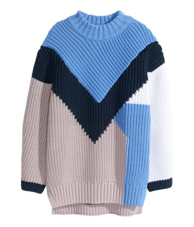 Knitted Jumper - length: below the bottom; style: standard; secondary colour: pale blue; predominant colour: navy; occasions: casual, creative work; fibres: cotton - mix; fit: loose; neckline: crew; sleeve length: long sleeve; sleeve style: standard; texture group: knits/crochet; pattern type: knitted - other; pattern size: light/subtle; pattern: colourblock; season: s/s 2015; wardrobe: highlight