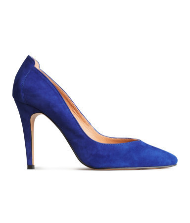 Leather Court Shoes - predominant colour: royal blue; occasions: evening, occasion; material: suede; heel height: high; heel: stiletto; toe: pointed toe; style: courts; finish: plain; pattern: plain; season: s/s 2015