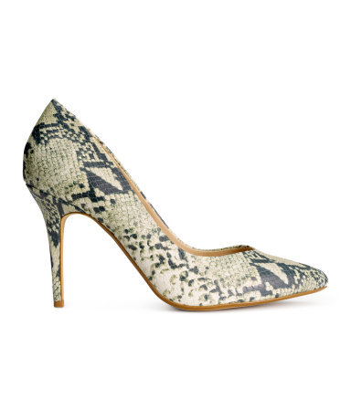 Court Shoes In Leather - predominant colour: stone; occasions: evening, occasion; material: leather; heel height: high; heel: stiletto; toe: pointed toe; style: courts; finish: plain; pattern: animal print; season: s/s 2015; wardrobe: event
