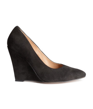 Suede Wedge Court Shoes - predominant colour: black; occasions: work, creative work; material: suede; heel: wedge; toe: pointed toe; style: courts; finish: plain; pattern: plain; heel height: very high; season: s/s 2015; wardrobe: highlight