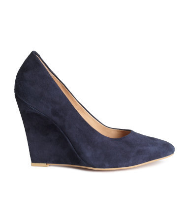 Suede Wedge Court Shoes - predominant colour: navy; occasions: work, creative work; material: suede; heel height: high; heel: wedge; toe: pointed toe; style: courts; finish: plain; pattern: plain; season: s/s 2015; wardrobe: investment