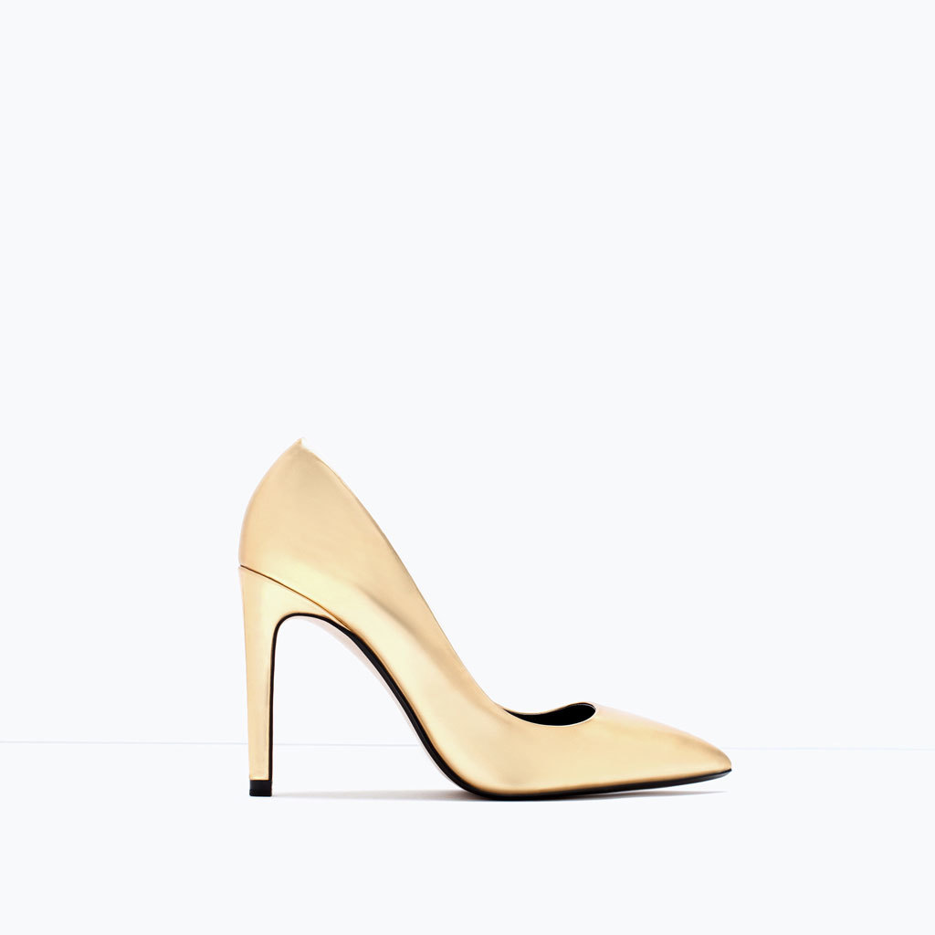 Laminated High Heel Court Shoe - predominant colour: primrose yellow; occasions: evening, occasion, creative work; material: faux leather; heel height: high; heel: stiletto; toe: pointed toe; style: courts; finish: plain; pattern: plain; season: s/s 2015