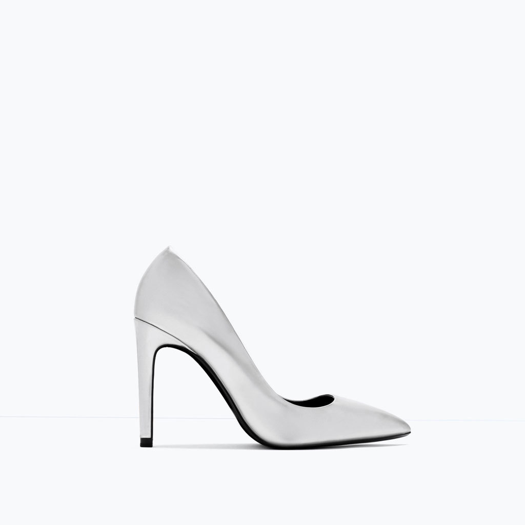 Laminated High Heel Court Shoe - predominant colour: silver; occasions: evening, occasion; material: faux leather; heel height: high; heel: stiletto; toe: pointed toe; style: courts; finish: plain; pattern: plain; season: s/s 2015; wardrobe: event