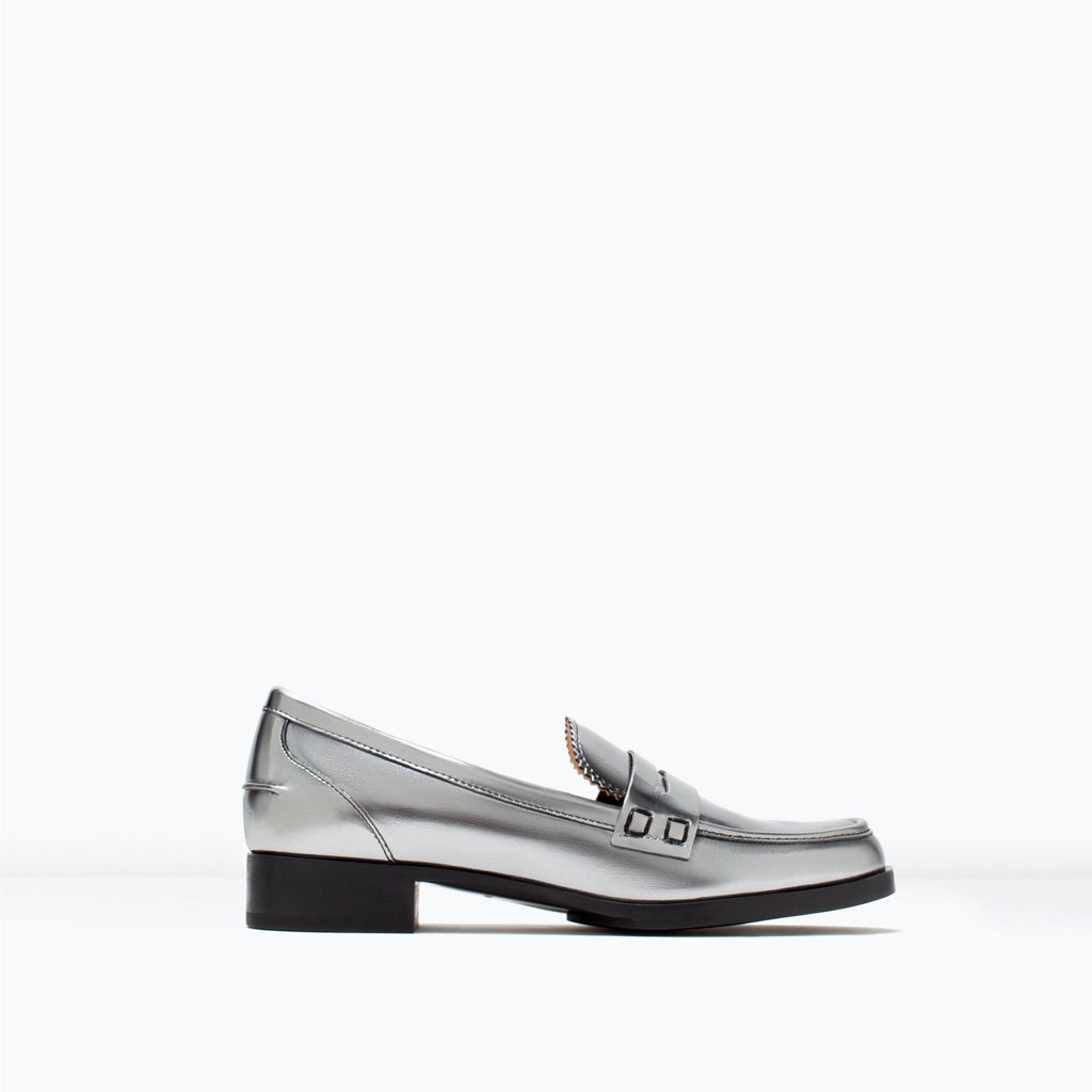 Silver Moccasins - predominant colour: silver; occasions: casual, creative work; material: faux leather; heel height: flat; toe: round toe; style: moccasins; finish: metallic; pattern: plain; season: s/s 2015; wardrobe: basic