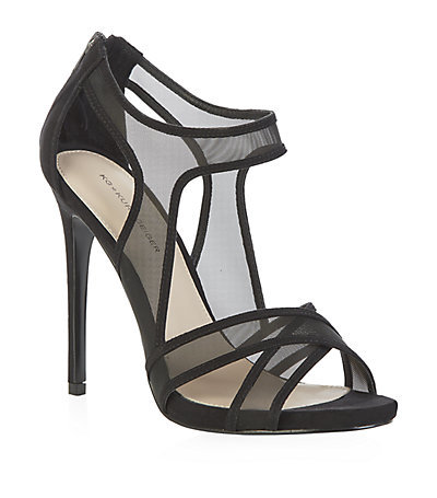 Haze Sandals - predominant colour: black; occasions: evening, occasion; material: fabric; heel: stiletto; toe: open toe/peeptoe; style: strappy; finish: plain; pattern: plain; heel height: very high; season: s/s 2015; wardrobe: event