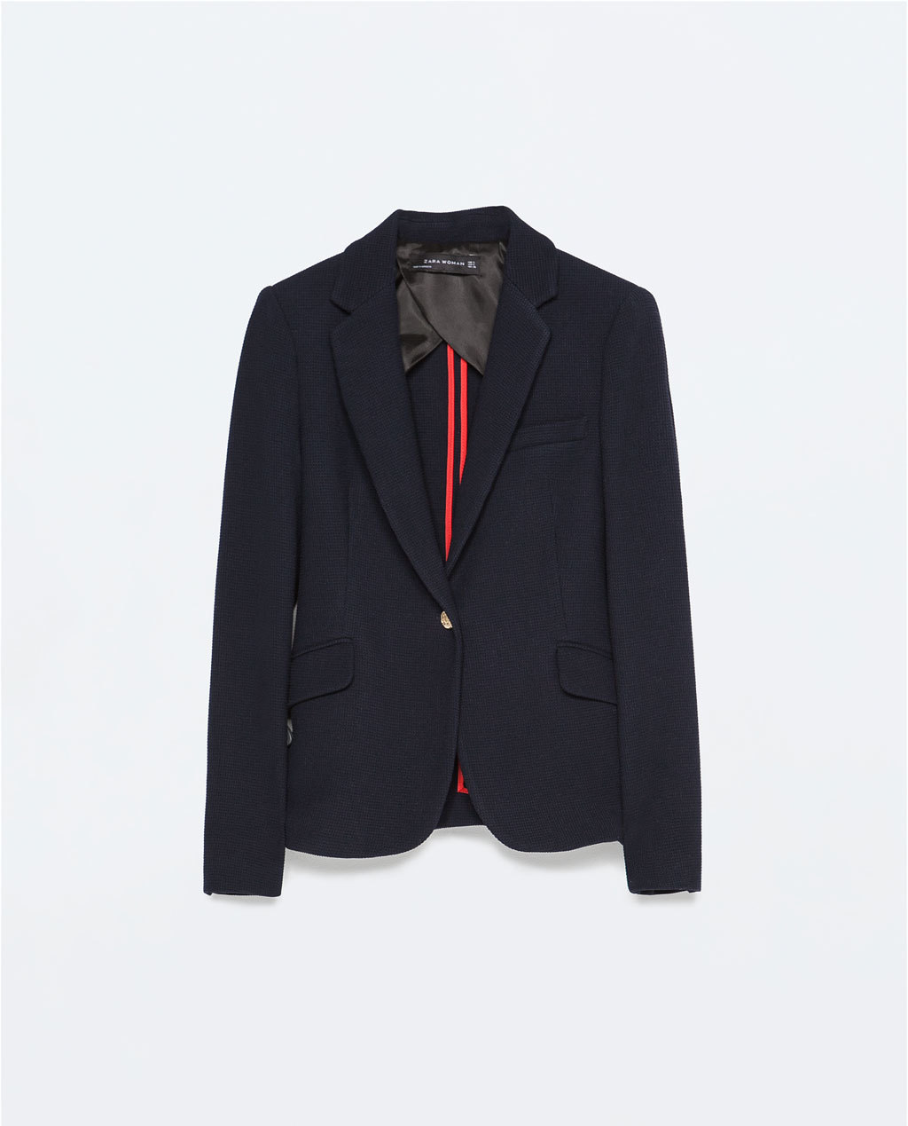Structured Blazer - pattern: plain; style: single breasted blazer; collar: standard lapel/rever collar; predominant colour: navy; occasions: evening, work, creative work; length: standard; fit: tailored/fitted; fibres: polyester/polyamide - mix; sleeve length: long sleeve; sleeve style: standard; collar break: low/open; pattern type: fabric; texture group: woven light midweight; season: s/s 2015; wardrobe: investment