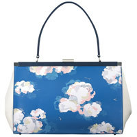Clouds Leather Frame Handbag - predominant colour: diva blue; occasions: casual, creative work; type of pattern: heavy; style: tote; length: handle; size: standard; material: leather; pattern: florals; finish: plain; season: s/s 2015; wardrobe: highlight