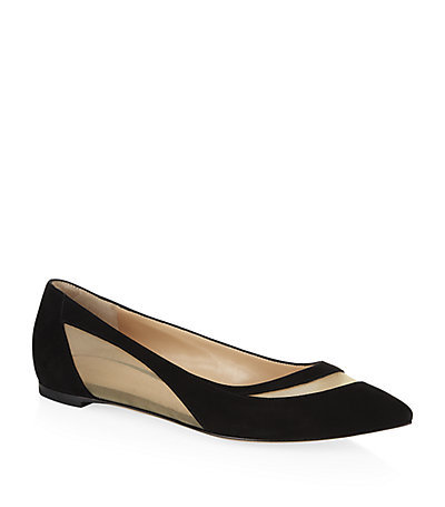 Indium Suede Flats - secondary colour: nude; predominant colour: black; occasions: casual, creative work; material: suede; heel height: flat; toe: pointed toe; style: ballerinas / pumps; finish: plain; pattern: colourblock; season: s/s 2015
