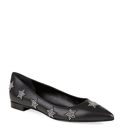 Paris Star Pointed Flat - predominant colour: black; occasions: casual, creative work; material: leather; heel height: flat; embellishment: studs; toe: pointed toe; style: ballerinas / pumps; finish: plain; pattern: patterned/print; season: s/s 2015; wardrobe: highlight