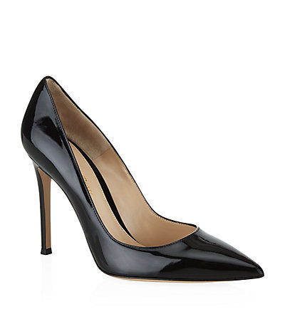 Bari Patent Court - predominant colour: black; occasions: evening, work, occasion; material: leather; heel: stiletto; toe: pointed toe; style: courts; finish: patent; pattern: plain; heel height: very high; season: s/s 2015; wardrobe: highlight