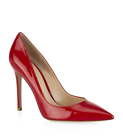 Bari Patent Court - predominant colour: true red; occasions: evening, work, occasion, creative work; material: leather; heel: stiletto; toe: pointed toe; style: courts; finish: patent; pattern: plain; heel height: very high; season: s/s 2015; wardrobe: highlight