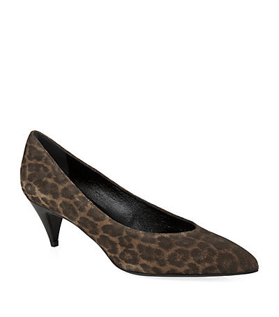 Leopard Print Kitten Pump - predominant colour: chocolate brown; occasions: evening, occasion, creative work; material: suede; heel height: mid; heel: kitten; toe: pointed toe; style: courts; finish: plain; pattern: animal print; season: s/s 2015