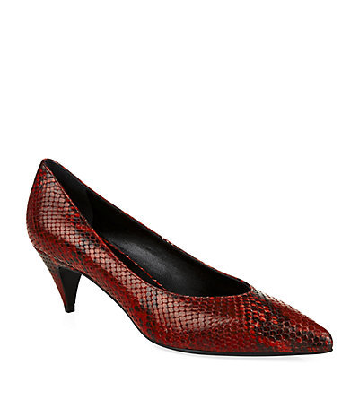 Python Kitten Pump - predominant colour: true red; occasions: evening, occasion, creative work; material: leather; heel height: mid; heel: kitten; toe: pointed toe; style: courts; finish: plain; pattern: animal print; season: s/s 2015