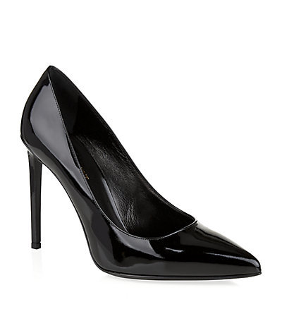 Paris Patent Pump - predominant colour: black; occasions: evening, work, occasion; material: leather; heel height: high; heel: stiletto; toe: pointed toe; style: courts; finish: patent; pattern: plain; season: s/s 2015; wardrobe: investment