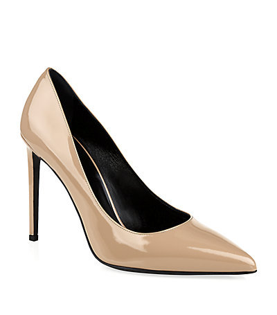 Paris Patent Pump - predominant colour: nude; occasions: evening, work, occasion; material: leather; heel height: high; heel: stiletto; toe: pointed toe; style: courts; finish: patent; pattern: plain; season: s/s 2015; wardrobe: investment