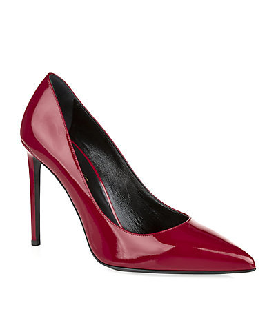 Paris Patent Pump - occasions: evening, occasion, creative work; material: leather; heel: stiletto; toe: pointed toe; style: courts; finish: patent; pattern: plain; heel height: very high; predominant colour: raspberry; season: s/s 2015