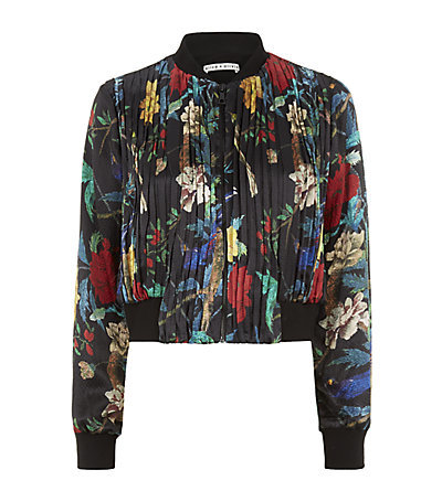 Drapey Pleated Floral Bomber Jacket - collar: round collar/collarless; fit: slim fit; style: bomber; occasions: casual, evening, creative work; length: standard; fibres: silk - 100%; predominant colour: multicoloured; sleeve length: long sleeve; sleeve style: standard; collar break: high; pattern type: fabric; pattern: florals; texture group: woven light midweight; season: s/s 2015; pattern size: big & busy (top); multicoloured: multicoloured; wardrobe: highlight
