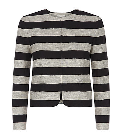 Kidman Box Jacket - pattern: horizontal stripes; collar: round collar/collarless; style: boxy; secondary colour: mid grey; predominant colour: black; occasions: casual, evening, creative work; length: standard; fit: straight cut (boxy); fibres: cotton - mix; sleeve length: long sleeve; sleeve style: standard; collar break: high; pattern type: fabric; texture group: woven light midweight; season: s/s 2015; pattern size: big & busy (top)