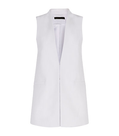 Slim Collarless Gilet - pattern: plain; sleeve style: sleeveless; style: gilet; collar: round collar/collarless; length: below the bottom; predominant colour: white; occasions: casual, creative work; fit: tailored/fitted; fibres: polyester/polyamide - mix; sleeve length: sleeveless; collar break: medium; pattern type: fabric; texture group: woven light midweight; season: s/s 2015; wardrobe: highlight