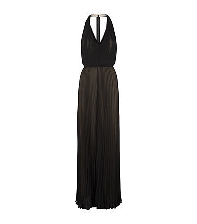 Morris Pleated Halterneck Jumpsuit - length: standard; fit: fitted at waist; pattern: plain; sleeve style: sleeveless; neckline: low halter neck; predominant colour: black; occasions: evening, occasion; fibres: polyester/polyamide - 100%; sleeve length: sleeveless; texture group: sheer fabrics/chiffon/organza etc.; style: jumpsuit; pattern type: fabric; season: s/s 2015; wardrobe: event