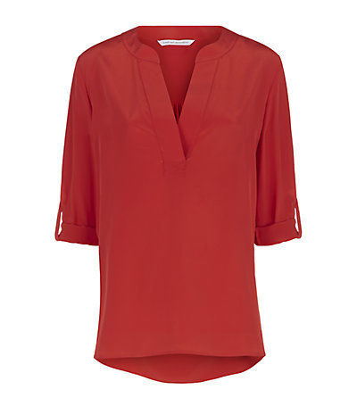 Esti V Neck Top - pattern: plain; style: blouse; occasions: casual, work, creative work; length: standard; neckline: collarstand & mandarin with v-neck; fibres: silk - 100%; fit: straight cut; sleeve length: 3/4 length; sleeve style: standard; texture group: crepes; pattern type: fabric; predominant colour: raspberry; season: s/s 2015; wardrobe: highlight