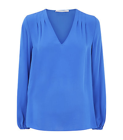 Arlenis V Neck Top - neckline: v-neck; pattern: plain; sleeve style: balloon; style: blouse; predominant colour: diva blue; occasions: casual, work, creative work; length: standard; fibres: silk - 100%; fit: straight cut; sleeve length: long sleeve; texture group: crepes; pattern type: fabric; season: s/s 2015; wardrobe: highlight