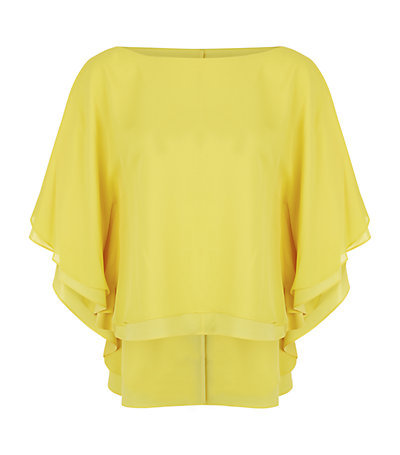 Hampton Dolman Sleeve Top - neckline: slash/boat neckline; sleeve style: dolman/batwing; pattern: plain; predominant colour: yellow; occasions: evening; length: standard; style: top; fibres: silk - 100%; fit: loose; sleeve length: 3/4 length; texture group: crepes; pattern type: fabric; season: s/s 2015; wardrobe: event