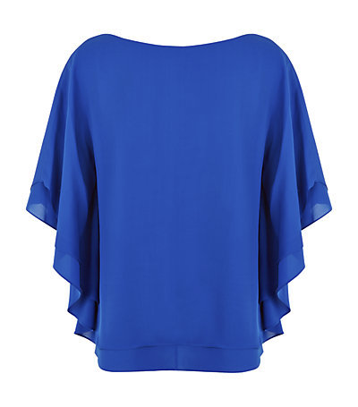 Hampton Dolman Sleeve Top - neckline: slash/boat neckline; sleeve style: dolman/batwing; pattern: plain; predominant colour: royal blue; occasions: evening, occasion; length: standard; style: top; fibres: silk - 100%; fit: loose; sleeve length: half sleeve; texture group: sheer fabrics/chiffon/organza etc.; pattern type: fabric; season: s/s 2015; wardrobe: event