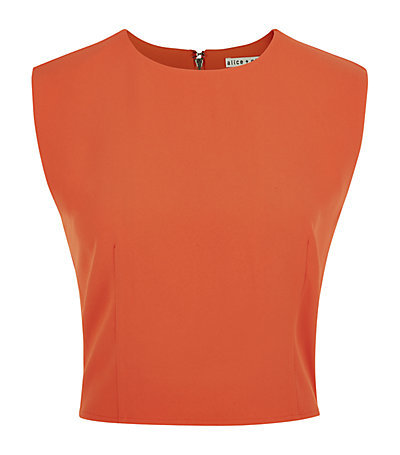 Klynn Sleeveless Crop Top - pattern: plain; sleeve style: sleeveless; length: cropped; predominant colour: bright orange; occasions: casual, creative work; style: top; fibres: polyester/polyamide - 100%; fit: body skimming; neckline: crew; sleeve length: sleeveless; pattern type: fabric; texture group: other - light to midweight; season: s/s 2015