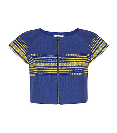 Amy Boxy Crop Top - pattern: horizontal stripes; length: cropped; bust detail: buttons at bust (in middle at breastbone)/zip detail at bust; predominant colour: royal blue; secondary colour: yellow; occasions: casual, creative work; style: top; fibres: cotton - 100%; fit: straight cut; neckline: crew; sleeve length: short sleeve; sleeve style: standard; pattern type: fabric; pattern size: standard; texture group: woven light midweight; season: s/s 2015; wardrobe: highlight