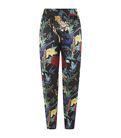 Floral Silk Trousers - length: standard; style: peg leg; waist: high rise; occasions: casual, creative work; fibres: silk - 100%; waist detail: narrow waistband; predominant colour: multicoloured; texture group: silky - light; fit: tapered; pattern type: fabric; pattern: florals; trends: exotic blooms; season: s/s 2015; pattern size: big & busy (bottom); multicoloured: multicoloured