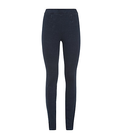 Clove Denim Leggings - length: standard; pattern: plain; style: leggings; waist detail: elasticated waist; waist: high rise; predominant colour: navy; occasions: casual, creative work; fibres: cotton - stretch; texture group: denim; fit: skinny/tight leg; pattern type: fabric; season: s/s 2015; wardrobe: basic
