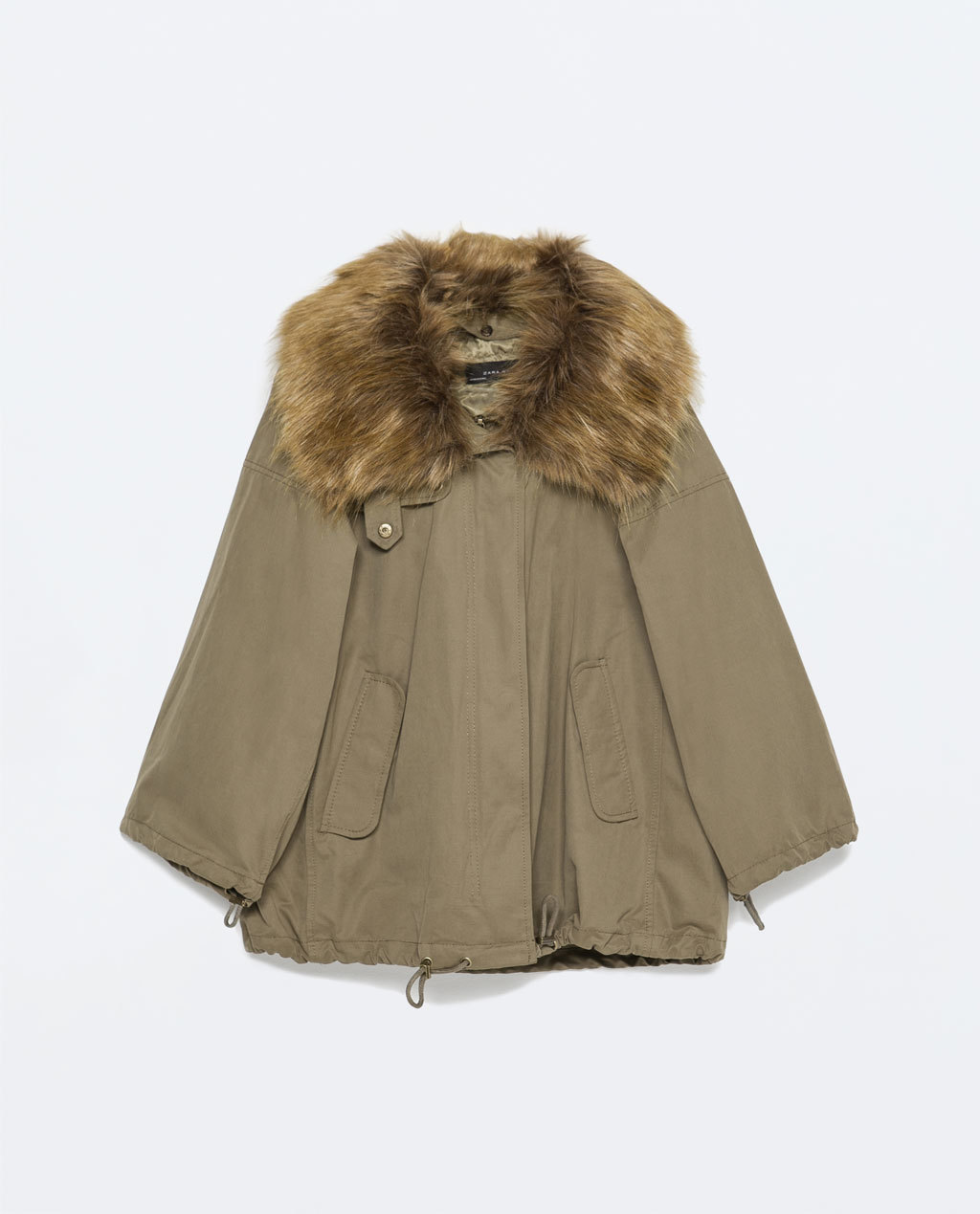 Cotton Parka - pattern: plain; length: standard; fit: loose; style: parka; secondary colour: tan; predominant colour: khaki; occasions: casual, creative work; fibres: cotton - mix; sleeve length: 3/4 length; sleeve style: standard; texture group: cotton feel fabrics; collar: fur; collar break: medium; pattern type: fabric; embellishment: fur; season: s/s 2015; wardrobe: highlight