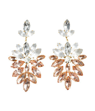 Sparkly Earrings - occasions: evening, occasion; predominant colour: multicoloured; style: chandelier; length: long; size: large/oversized; material: chain/metal; fastening: pierced; finish: plain; embellishment: jewels/stone; season: s/s 2015; multicoloured: multicoloured; wardrobe: event