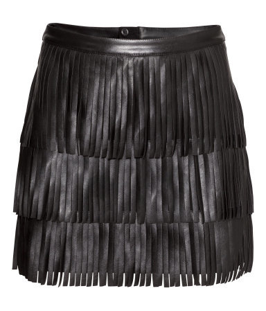 Fringed Skirt - length: mini; pattern: plain; fit: body skimming; waist: mid/regular rise; predominant colour: black; occasions: casual, evening, creative work; style: mini skirt; waist detail: feature waist detail; texture group: leather; pattern type: fabric; embellishment: fringing; fibres: pvc/polyurethene - 100%; season: s/s 2015; wardrobe: highlight; embellishment location: all over