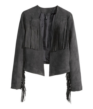 Fringed Jacket - pattern: plain; style: single breasted blazer; collar: round collar/collarless; predominant colour: charcoal; occasions: casual, evening, creative work; length: standard; fit: straight cut (boxy); fibres: polyester/polyamide - 100%; sleeve length: long sleeve; sleeve style: standard; collar break: low/open; pattern type: fabric; texture group: suede; embellishment: fringing; season: s/s 2015; wardrobe: highlight; embellishment location: bust, sleeve/cuff
