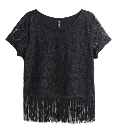 Lace Top With Fringes - neckline: round neck; pattern: plain; style: t-shirt; predominant colour: black; occasions: casual, evening, creative work; length: standard; fibres: polyester/polyamide - stretch; fit: straight cut; hip detail: added detail/embellishment at hip; sleeve length: short sleeve; sleeve style: standard; pattern type: fabric; texture group: jersey - stretchy/drapey; embellishment: fringing; season: s/s 2015; wardrobe: highlight