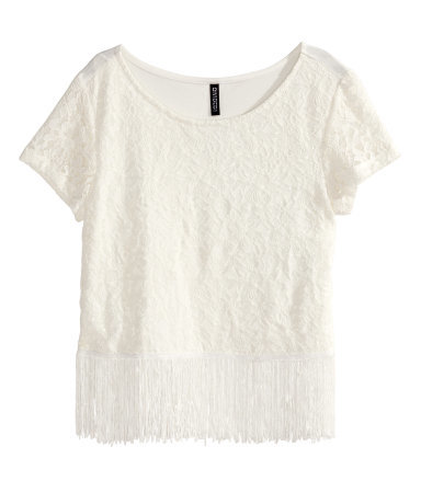 Lace Top With Fringes - neckline: round neck; style: t-shirt; predominant colour: ivory/cream; occasions: casual, evening, creative work; length: standard; fibres: polyester/polyamide - stretch; fit: straight cut; hip detail: added detail/embellishment at hip; sleeve length: short sleeve; sleeve style: standard; texture group: lace; pattern type: fabric; pattern: patterned/print; embellishment: fringing; season: s/s 2015