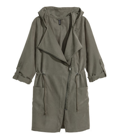Parka - pattern: plain; collar: asymmetric biker; fit: loose; style: parka; length: mid thigh; predominant colour: khaki; occasions: casual, creative work; fibres: cotton - mix; waist detail: belted waist/tie at waist/drawstring; sleeve length: 3/4 length; sleeve style: standard; texture group: cotton feel fabrics; collar break: high/illusion of break when open; pattern type: fabric; trends: utilitarian chic; season: s/s 2015; wardrobe: basic